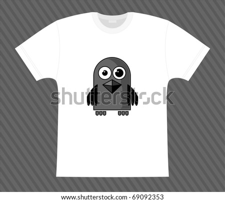 Vector. T-shirt. Little raven