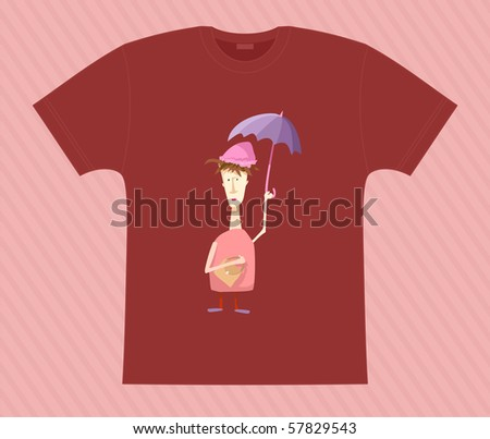 Vector. T-shirt. Madam with umbrella