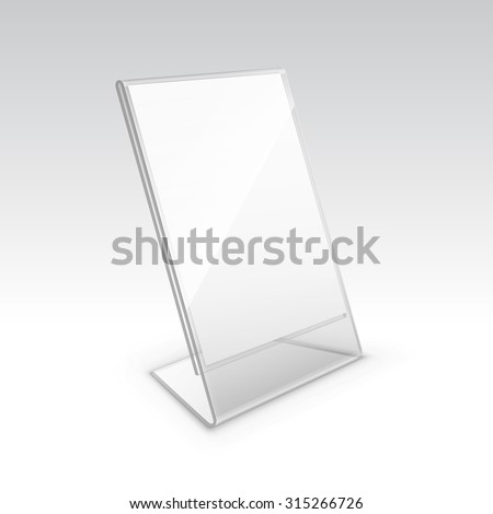 Vector Table Blank Transparent Plastic Stand Holder For