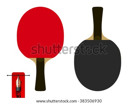 Vector table tennis racket or racquet. red and black. flat style Сток-фото ©