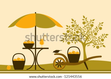 vector table with umbrella and hand barrow with basket of apples in apple orchard