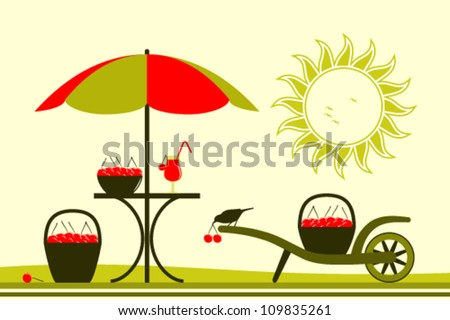 vector table with umbrella and hand barrow with basket of cherries