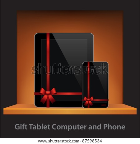 Vector Tablet Computer & Mobile Phone with ribbon and bow in a gift on a shelf - stock vector