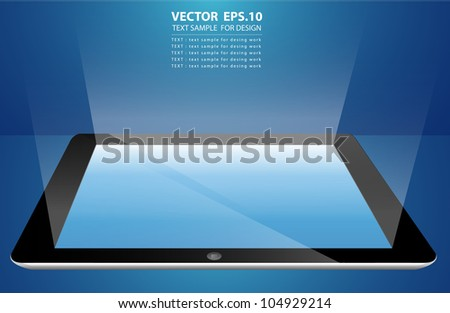 Vector Tablet computer input device. Uneven diffuse lighting version
