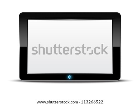vector tablet computer with isolated background