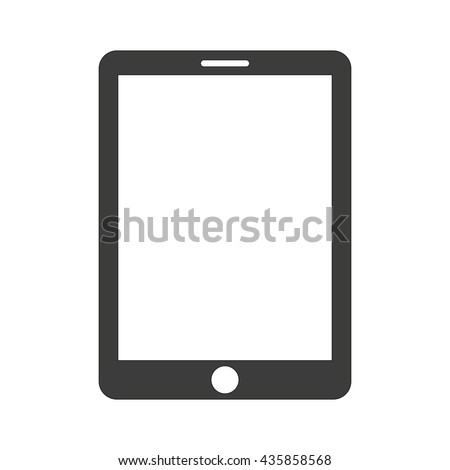 Vector Tablet icon. Flat vector illustration in black isolated on white background. EPS 10