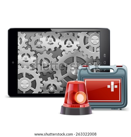 vector tablet pc with emergency