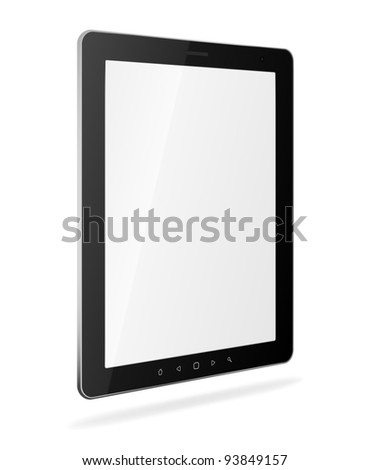 Vector tablet pc with empty white screen and black frame. Object isolated of background. EPS8 editable illustration