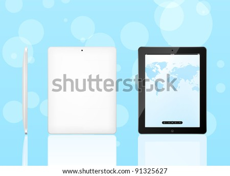 Vector tablet pc with map of screen and black frame. Front, back and side view. EPS8 editable - stock vector