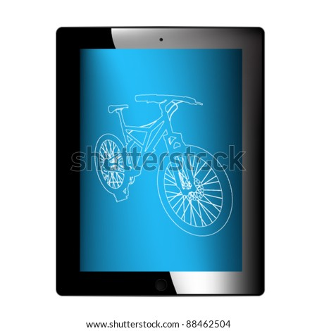 vector tablet with bicycle silhouette