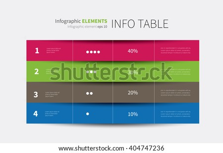 vector tabular graphic for summary with columns and rows / report infographic table options 4
