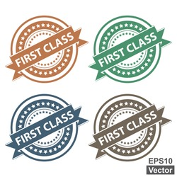 Vector : Tag, Sticker, Label or Badge For Product Certification or Product Verification Present By Colorful First Class Ribbon on Colorful Icon Isolated on White Background