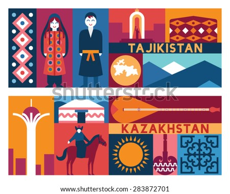 vector tagikistan kazakhstan