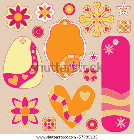Vector tags, flowers and hearts collection