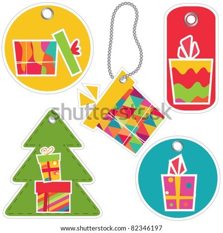 Vector tags with gift box. Set.