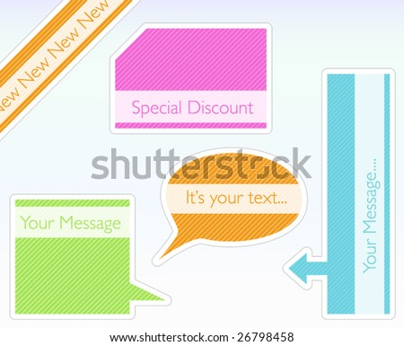 Vector tags with modern and colorful stripe pattern