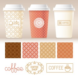 Vector take away coffee packaging templates and design elements for coffee shops - cardboard cups with emblems and logos and seamless patterns in trendy linear style