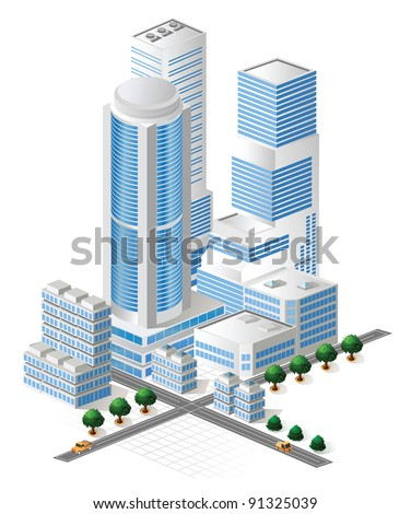 Vector tall buildings in blue tones on white background