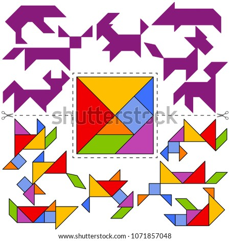 Vector Tangram Puzzle Animals Collection (geometric puzzle). Collection of 7 objects and answer card. Vector illustration