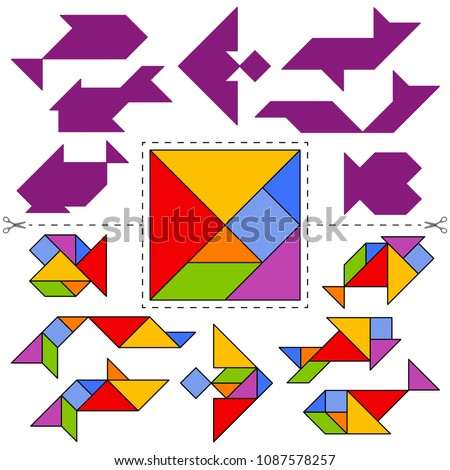 Vector tangram puzzle fishes collection (geometric puzzle). Collection of 7 objects and answer card. Vector illustration