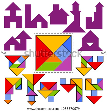 Vector Tangram Puzzle House Collection (geometric puzzle). Collection of 7 objects and answer card. Vector illustration