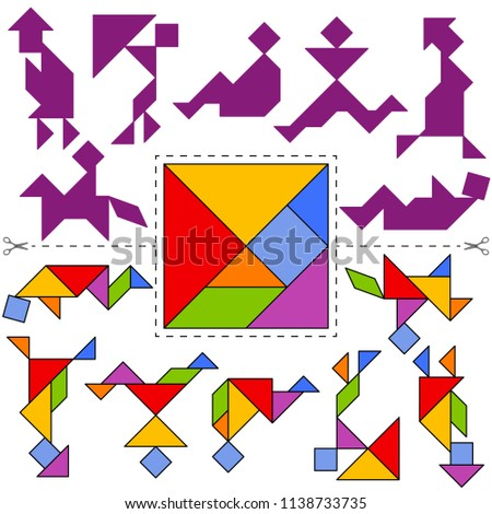 Vector Tangram Puzzle People Collection (geometric puzzle). Collection of 7 objects and answer card. Vector illustration