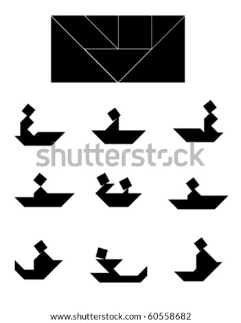 Vector Tangram Puzzle People on Boat (ship, kayak, canoe, yawl) Collection - elements for art and design from China (Chinese)