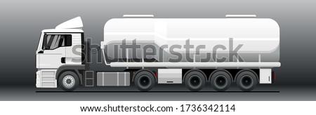 Vector tank truck side view. Truck; semitrailer tank. White blank tank truck template for advertising. Oil, fuel tanker. Freight, liquid transportation. Modern flat vector illustration. stock photo