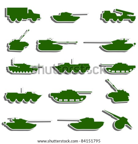 Vector Tanks, artillery and vehicles from second world war  stickers. Rasterized version also available in gallery