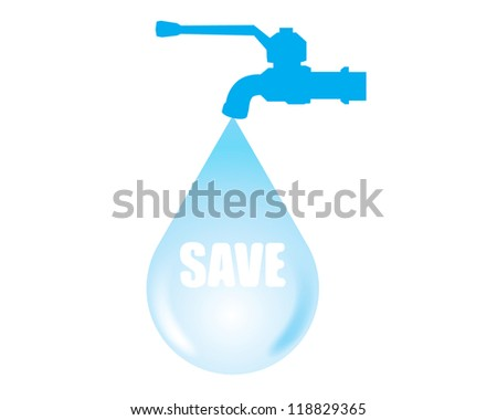Vector tap and water on a white background