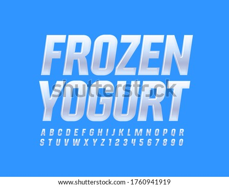 Vector tasty emblem Frozen Yogurt with Glossy white Font. Elegant Alphabet Letters and Numbers Foto d'archivio ©