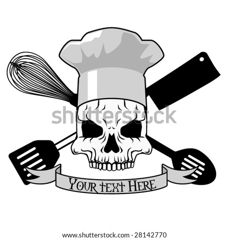 stock-vector-vector-tattoo-design-with-skull-and-kitchen-implements