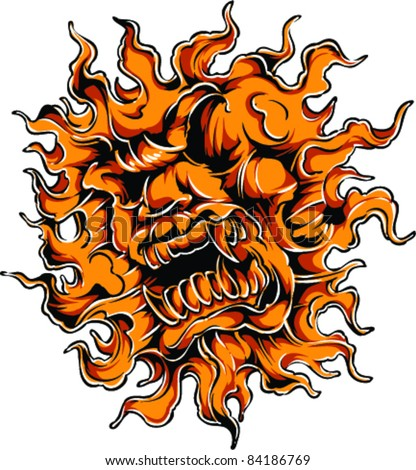 Vector Tattoo Flame Lion