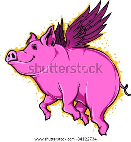 vector tattoo flying pig
