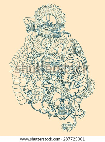 vector tattoo pattern with...