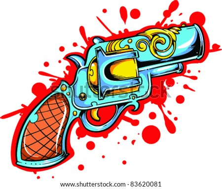 Vector Tattoo Pistol - stock vector