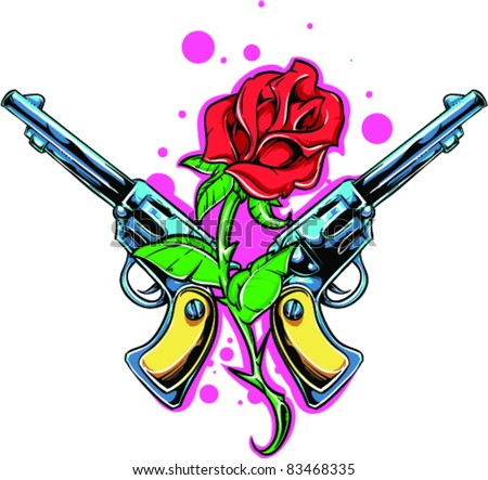 vector tattoo rose with gun