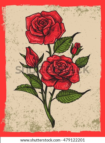 vector tattoo roses with leaves on grunge background