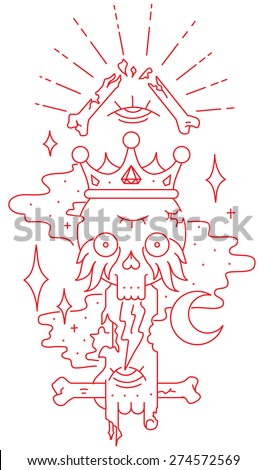 vector tattoo sketch skull with