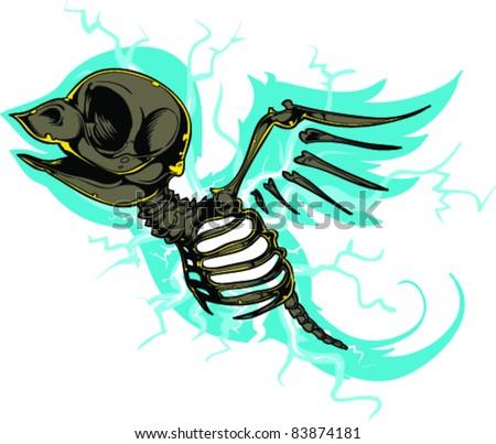 vector tattoo skull bird