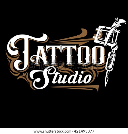 Vector tattoo studio logo templates on black background. Cool retro styled vector emblem. Tattoo studio sign.