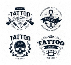 Vector tattoo studio logo templates on white background. Cool retro styled vector emblems.