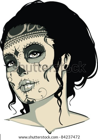 Vector Tattoo Zombie Girl
