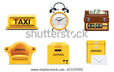 Vector taxi and transportation service icon set. part 2