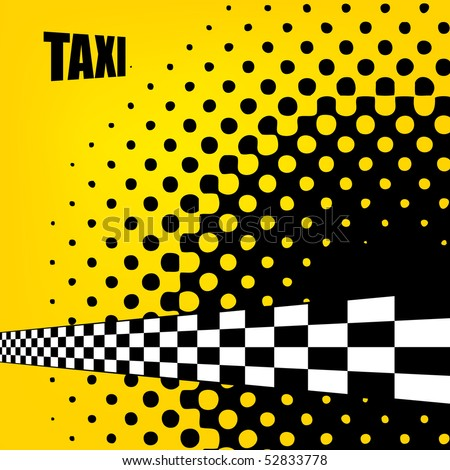 Vector taxi cab background with checkers flag.