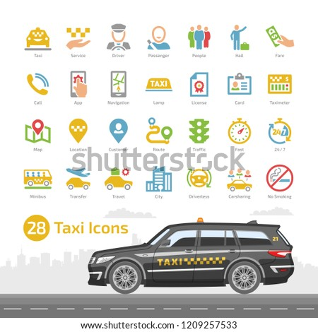 Vector taxi cab car service color icon set with black station wagon mockup. Motor transport, driver, passenger, navigation, mobile app and city traffic flat silhouette sign.
