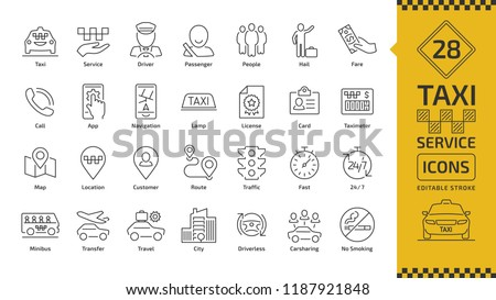 Vector taxi cab car service editable stroke line icon set with motor transport, driver, passenger on travel, people and city traffic thin outline sign.