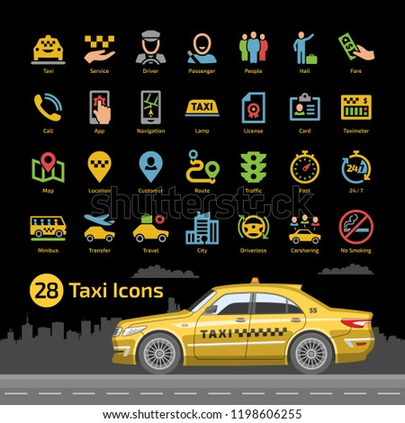 Vector taxi cab car service icon set with yellow sedan mockup on a black background. Motor transport, driver, passenger, map, location, taximeter, license and more flat silhouette sign.