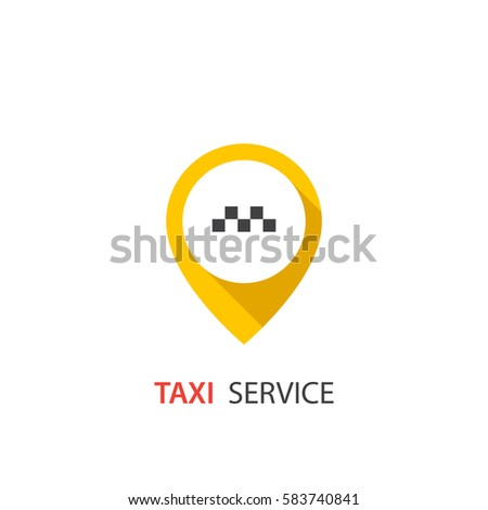 Vector taxi icon. Map pin with taxi sign
