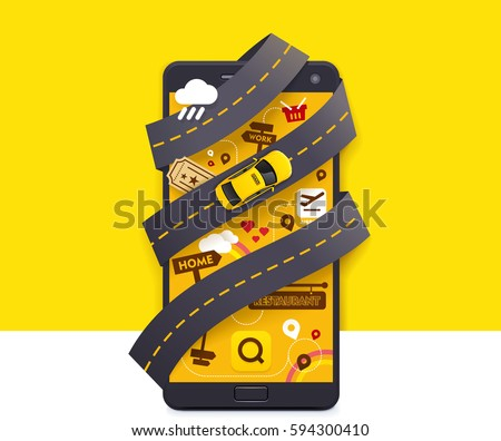 Vector taxi mobile app icon Includes smartphone with yellow taxicab and the road on the screen